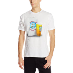 White short-sleeve crew neck t-shirt featuring Los Pollos Hermanos food bag and drink from TV show Breaking Bad