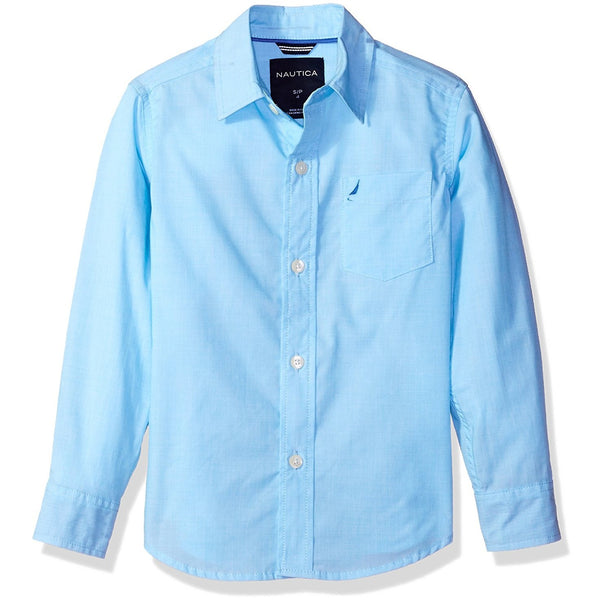Turquoise blue long-sleeve collared button-up boys shirt
