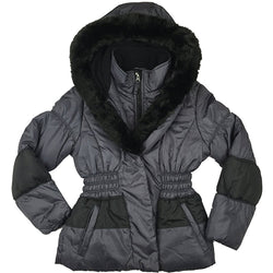 Rothschild & Co. Girls Faux-Fur-Trim Puffer Coat Pewter/Black Small 7/8
