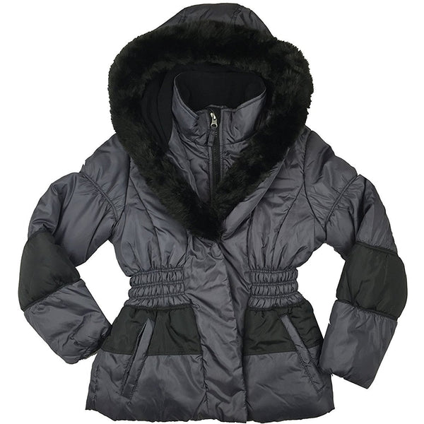 Girls black winter coat with faux fur lined hood, cinched waist, two front pockets, and full-front zipper