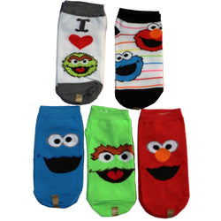 Boys 5 pack Sesame Street no-show ankle socks featuring Cookie Monster in blue, Oscar the Grouch in green, Elmo in red, and white featuring the characters