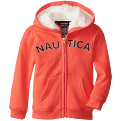 Girls orange zip-up hoodie sweatshirt with Nautica across front