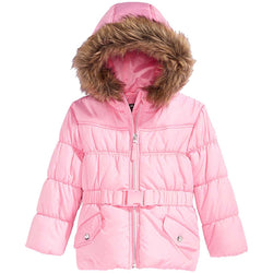Rothschild Little Girls Belted Puffer Coat with Faux Fur Trim