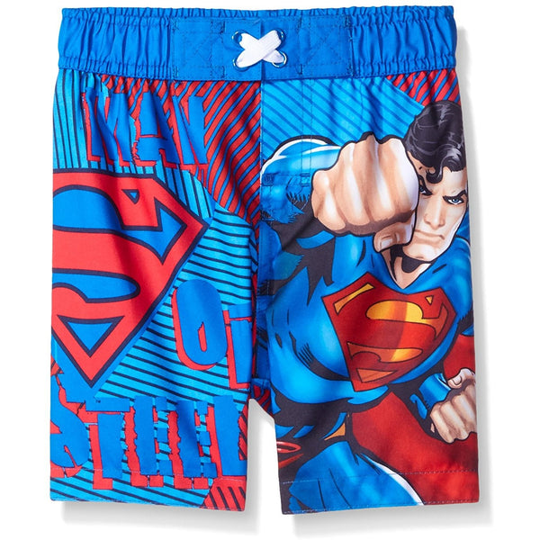 Boys Superman swim trunks in blue with Superman logo and character