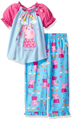Girls two piece pajama set with short-sleeve Peppa Pig shirt and blue allover Peppa Pig print pants
