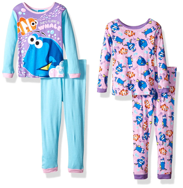 Disney Girls' Finding Dory 4-Piece Cotton Pajama Set