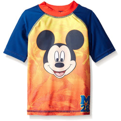 Red, blue, and orange short-sleeve Mickey Mouse rash guard swim shirt