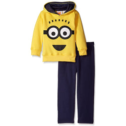 2 piece set with yellow long-sleeve fleece sweater with minion face design and matching navy blue pants