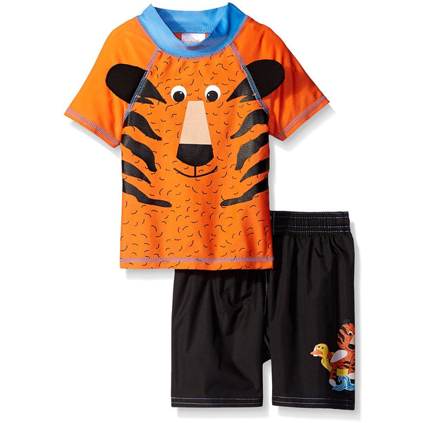 Boys rash guard set with orange tiger short-sleeve t-shirt and matching black swim trunks