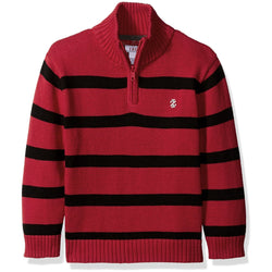 Red and black striped long-sleeve Izod sweater with ribbed collar and quarter zipper