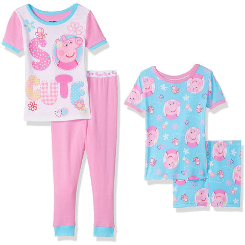 Girls four piece Peppa Pig pajama set with two short-sleeve shirts, one pair of shorts, and a pair of pants