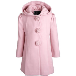 Rothschild Baby Girls Faux Wool Scalloped Rosette Winter Dress Coat with Hood