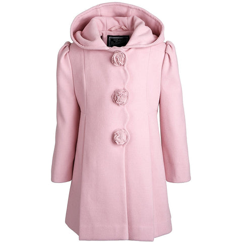 Pink hooded girls dress coat with scoop neck and floral buttons