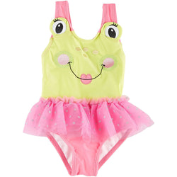 Girls one-piece swimsuit with green frog face design and pink tutu