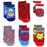 6 Pack Avengers little boys no-show ankle socks featuring Captain America, Ironman, and the Avengers logo