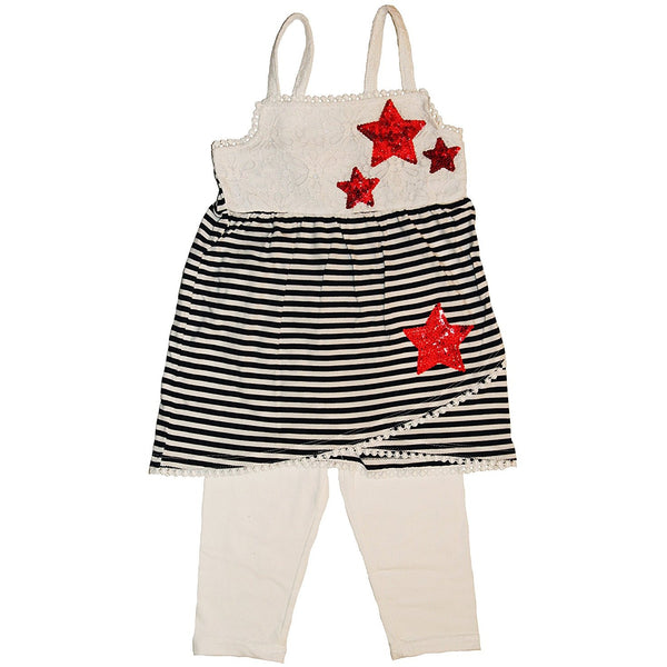 Girls two piece matching tank top set with black and white striped tank-top with embellished red star design and white eyelet wrap trim and solid yoke with matching solid white capri leggings pants