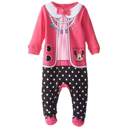 Pink and black baby girls one-piece blanket sleeper with Minnie Mouse design and pink and black polka dot