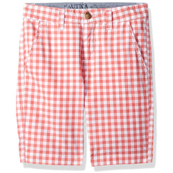 Boys coral and white plaid bermuda short with side pockets