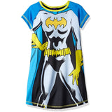 Blue short-sleeve pajama dress with Batgirl comic style body design featuring Batgirl logo