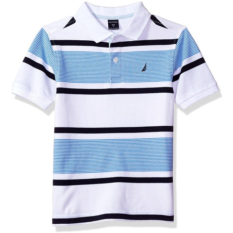 Boys short-sleeve collared polo t-shirt with white, black, and blue horizontal stripes