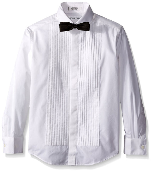 Calvin Klein Boys' Long Sleeve Tuxedo Shirt and Bowtie