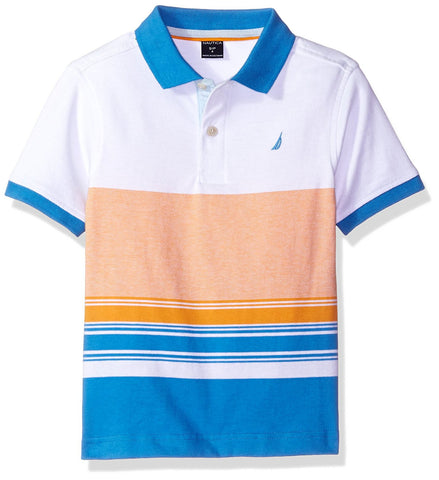 Boys multicolored short-sleeve polo t-shirt with white, blue, orange, and salmon