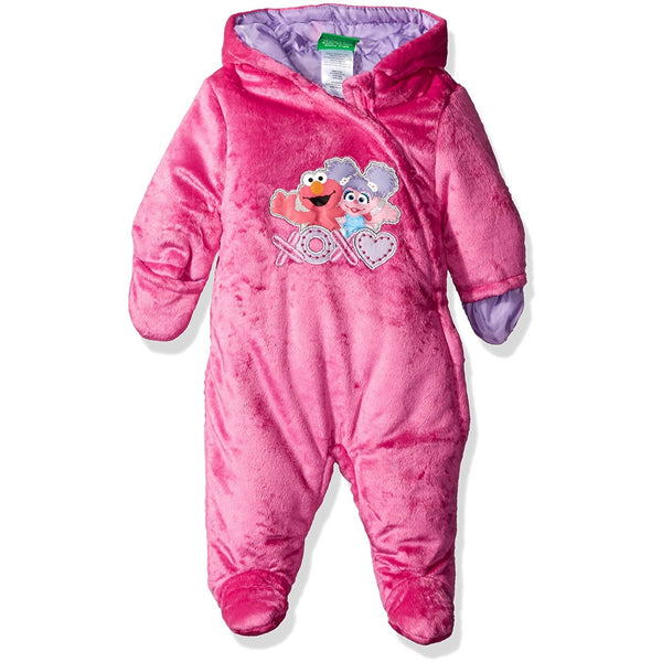 Girls pink velvet footed pram jacket featuring Sesame Street characters