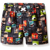 Black geometric design boys swim trunks with various Pixar characters from The Incredibles, Monsters Inc, and Toy Story