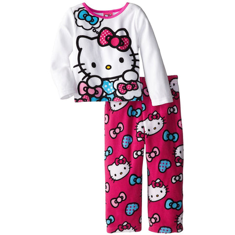 Hello Kitty Little Girls' Hearts and Bows Cozy Fleece Pajama Set