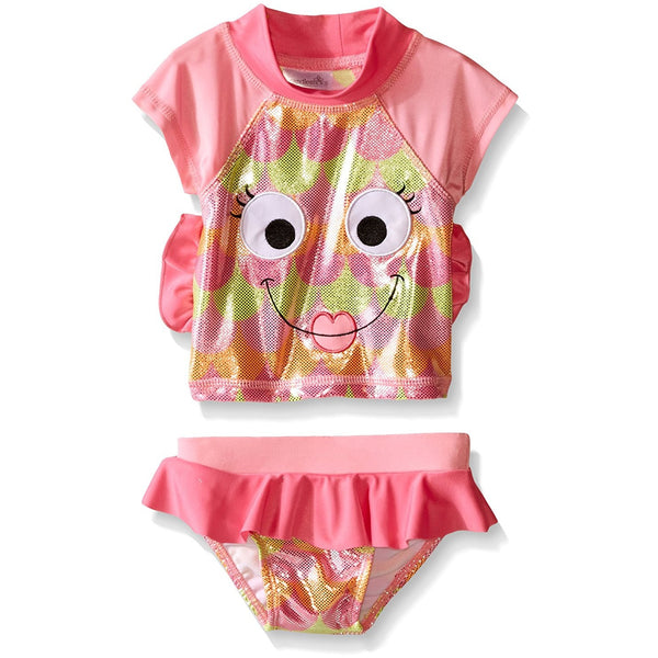 Pink baby girls two piece rash guard set with short-sleeve fish face t-shirt and bikini bottoms with pink frill tutu