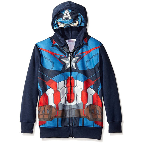 Boys zip-up hoodie sweatshirt in Captain America costume design with face mask