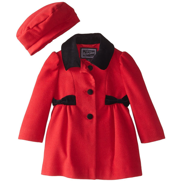 Girls red wool dress coat with black bow accents and collar with matching red beret hat