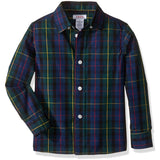 Boys long-sleeve, collared, button-up dress shirt in black, green, and blue plaid design