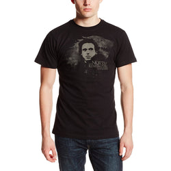 Model wearing black short-sleeve crew neck t-shirt with Robb Stark image and North Remembers Text in gray