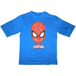 Boys blue half-sleeve rash-guard swim shirt with screen printed Spiderman face and logo