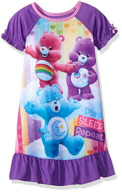 Girls short-sleeve nightgown in white and purple featuring Care Bears characters and Play, Sleep, Repeat text