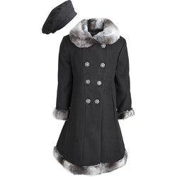 Rothschild Little Girls Wool Look double-breasted Faux Fur Trimmed Dress Coat