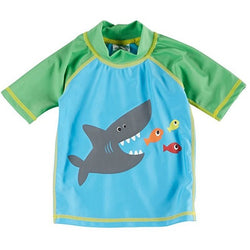Boys blue rash-guard swim shirt, screen printed shark and fish, with green sleeves and collar.