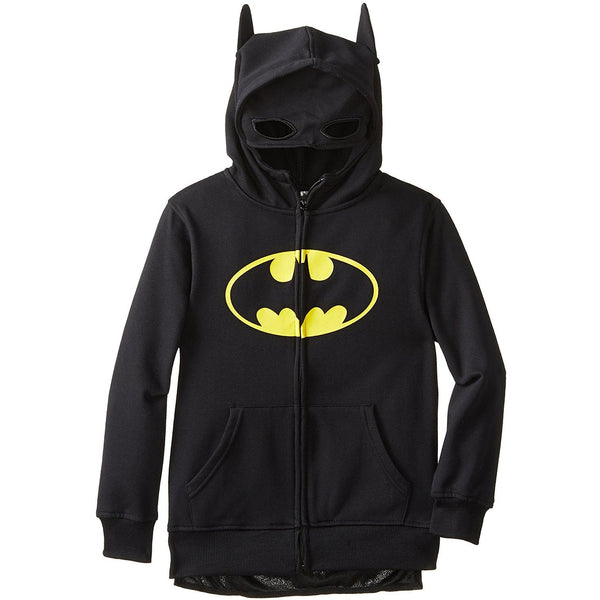 Black zippered hooded sweatshirt featuring yellow Batman logo, bat ears on hood and face mask