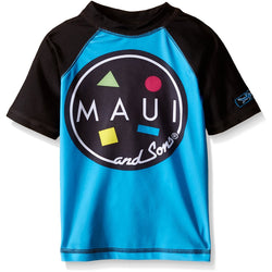 Blue with black short-sleeves Maui and Sons rash guard swim shirt