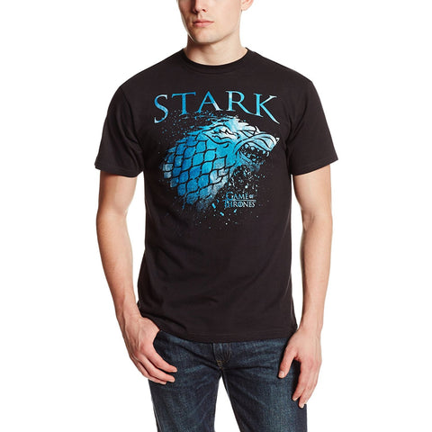 Model wearing black short-sleeve crew neck t-shirt with blue Stark text and Direwolf from Game of Thrones