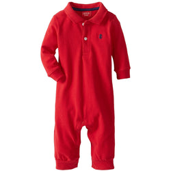 Red plush coverall with polo collar