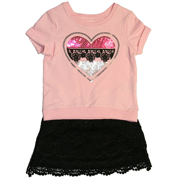 2 piece skirt set with short-sleeve pink t-shirt embellished with sequin heart design and matching black lace trim skirt