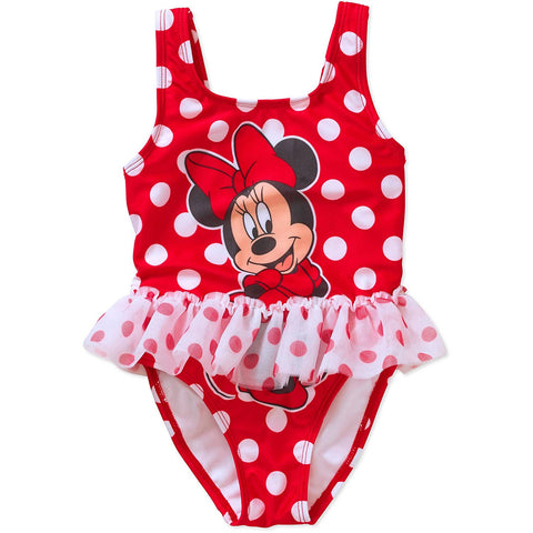 Red and white polka dot girls one-piece swim suit with attached tutu and Minnie Mouse design