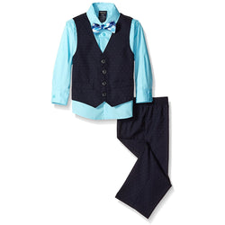 Boys three piece set with blue long-sleeve collared button-up dress shirt, black front button vest, black dress pants, and matching clip-on bow tie.