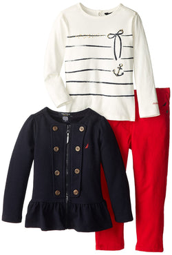Girls three piece set with black front-button French Terry jacket, long-sleeve white crew neck shirt with silver bow and anchor design and matching red pants