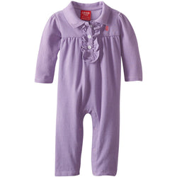 Purple girls coverall with polo collar and ruffle accent by chest buttons