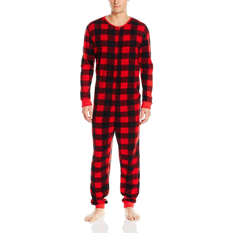 Model wearing black and red plaid men's onesie bodysuit pajama