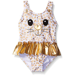 Girls one-piece swimsuit in white with black and gold kitty face design and attached shiny gold tutu skirt
