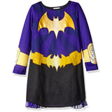 Girls purple and black long-sleeve Batgirl dress with yellow Batgirl logo and utility belt design and detachable cape